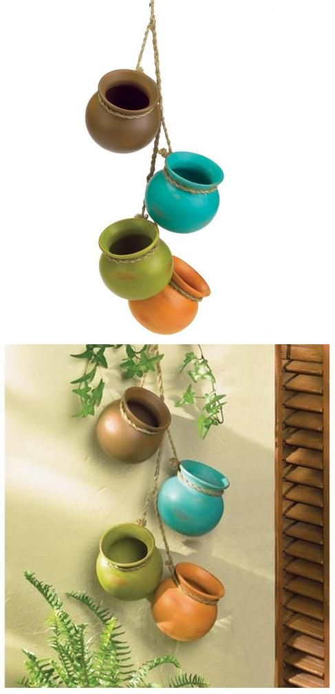 Beautiful Gifts & Decor Dangling Mini Ceramic Pot Set : $13.42  .Cute set of earth tone finish pots .Set of 4 pots crafted from Ceramic .Delightful decoration for any kitchen .Features a jute hanging loop for easy display .Wonderful gift idea for housewarmings....