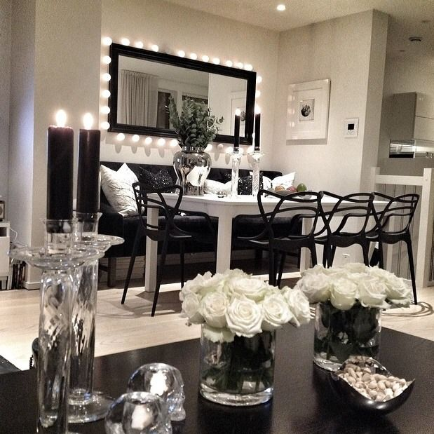Now This Is Gorgeous Interior Design I Love The Black And White Theme Ive Never Seen A Dining Room With Couch Cant Picture Myself Putting