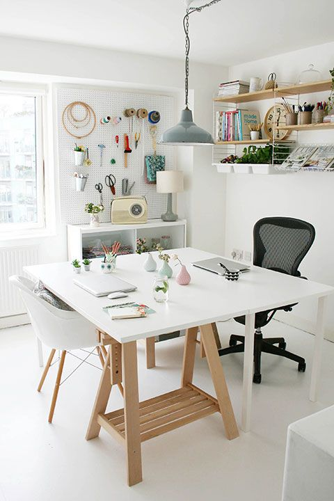 Home office storage ideas | Storage solutions for workspace | Vintage pendant light