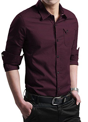 XTAPAN Men's Casual Slim Fit Shirt Cotton Long Sleeve Button Down Dress Shirt (US L =AS 3XL, Dark Wine Red##)