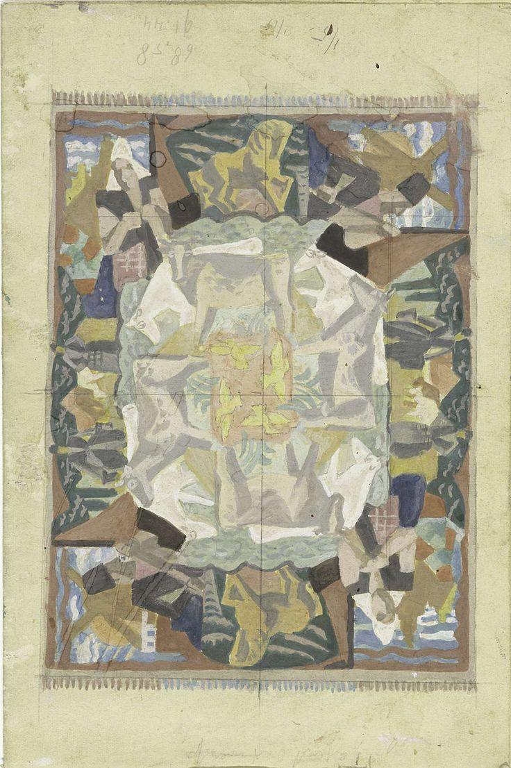 """Tapijtontwerp motief """"Hollland"""" (ontwerp op leporello), Leo Gestel, 1928"""