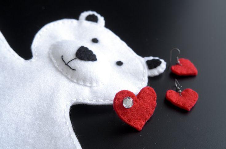 Teddy bear with heart ring and heart earrings  - teddy bear decor, teddy bear handmade, baby shower, teddy bear nursery - by FeltforAdults on Etsy