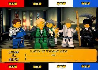 Invito di compleanno da stampare gratis Ninjago Lego