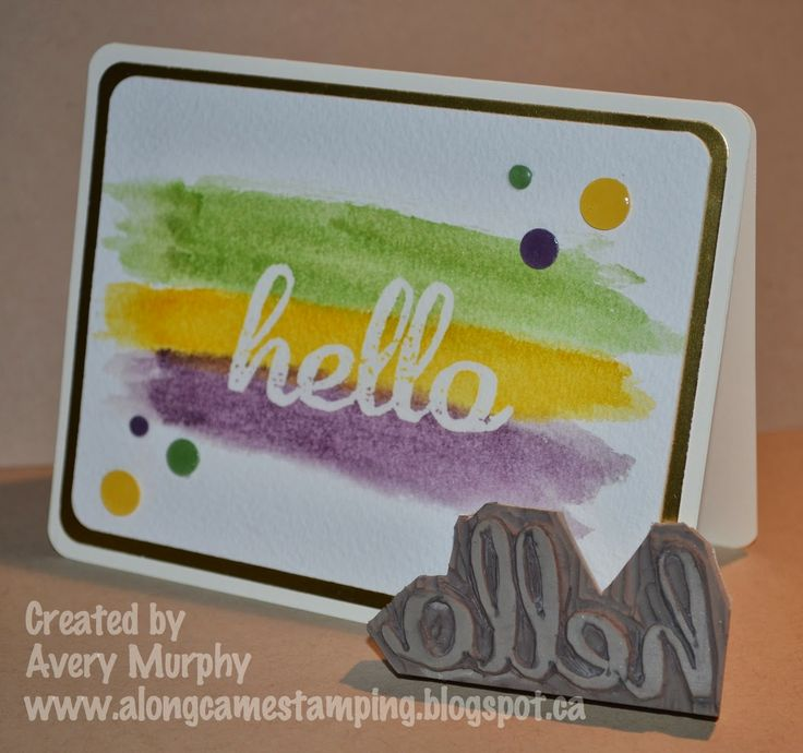 Hello - carved by Avery Murphy: Covers Stamps, Fm153 Watercolor, Cards Ideas, Cards Stamps, Watercolor Backgrounds, Stamps Carvings, Undefin Stamps, Hello Stamps, Cards Hello
