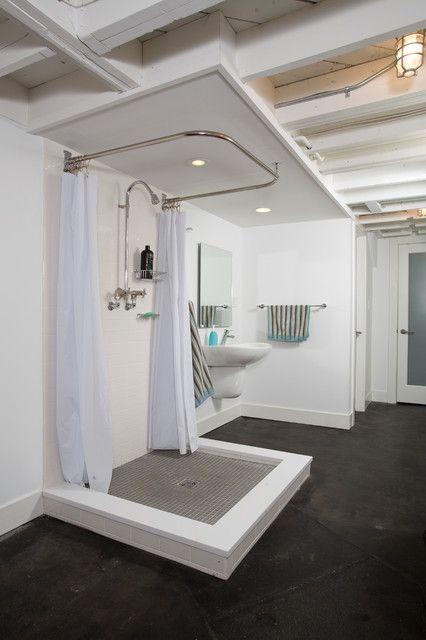 Kerdi Shower Pan Bathroom Industrial With Concrete Floor