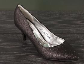 Zwarte glitter pumps met comfortabele lage hak