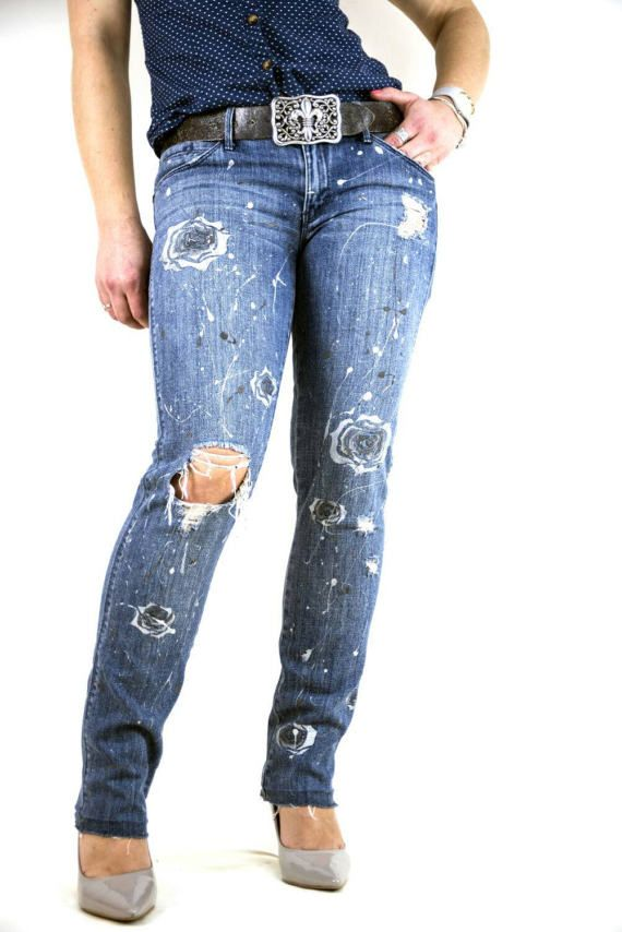 Check out this item in my Etsy shop https://www.etsy.com/uk/listing/513285283/ripped-womens-jeans-hand-painted