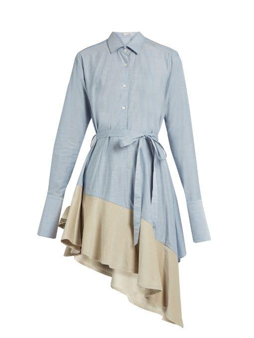 Palmer//harding Asymmetric corduroy-hem fluted cotton dress