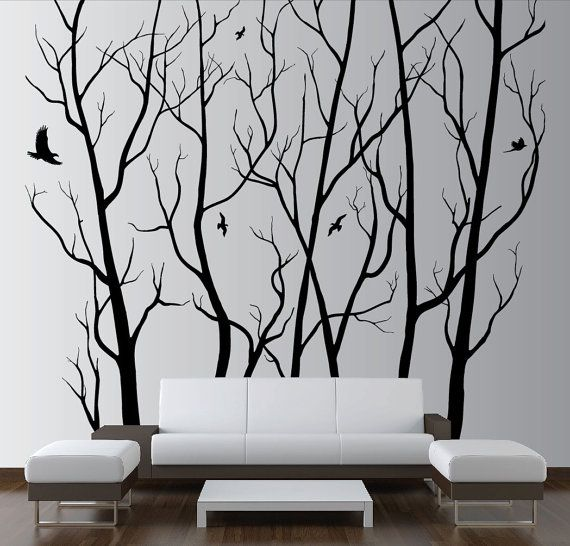 """100"""" x 90"""" Designer Wall Art Decor Vinyl Tree Forest Decal Sticker (16 available colors) 1105"""