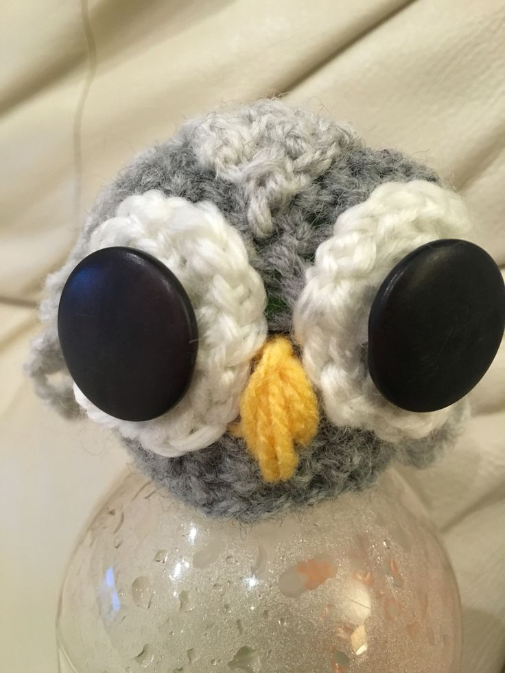 Hand knitted owl I made for innocent smoothie 'big knit'