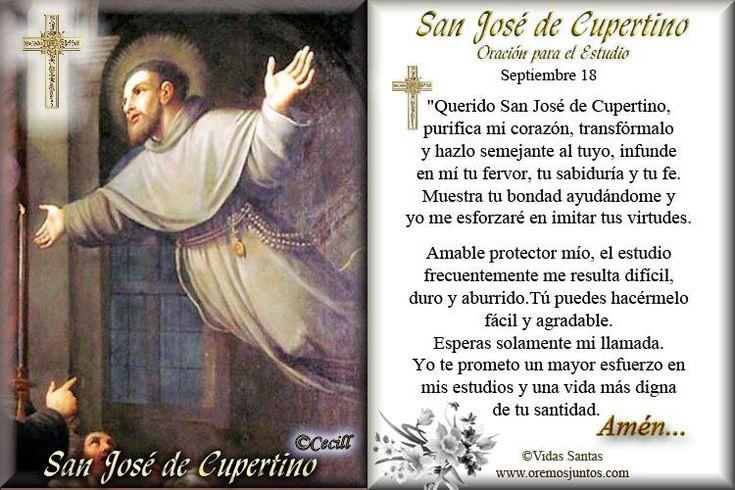 Gracias de la Medalla Milagrosa Oraciones e intenciones a la Virgen : ORACION A SAN JOSÉ DE CUPERTINO