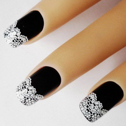 One Sheet Stylish White Lace Floral Pattern Nail Art Sticker