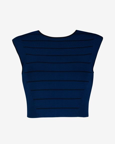 Ottoman knit crop top - Navy | Tops & Tees | Ted Baker