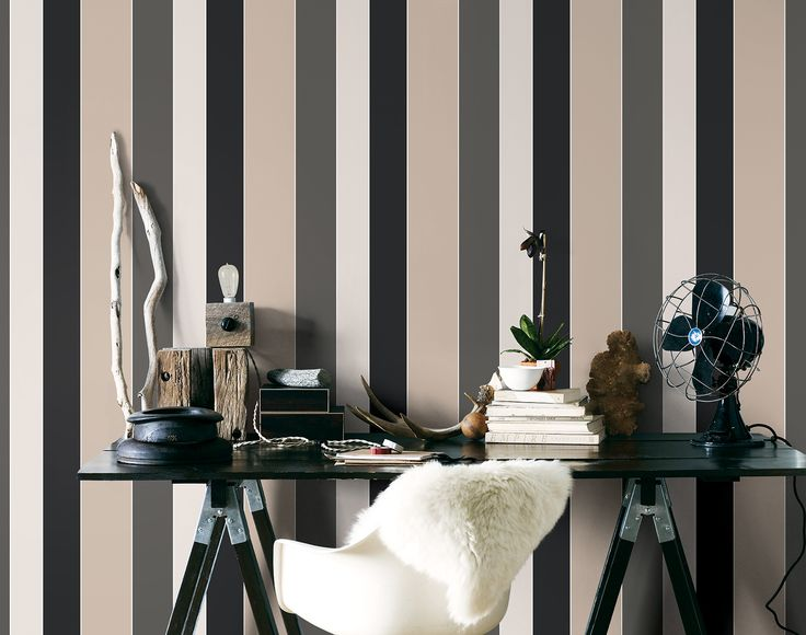 Masculine black and beige wide stripe looks great in this modern study. G23132 Smart Stripes by Galerie