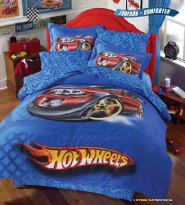 Hot Wheels comforter set for Gabriel's bed. Looks great