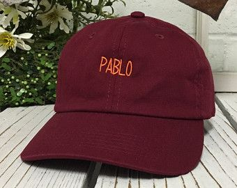 New Pablo Embroidery Baseball Cap Burgundy/Orange Thread Low Profile Curved Bill Dad Cap