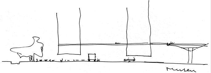 Croquis do corte do projeto do concurso para o Museu de Arte Contemporânea da Universidade de São Paulo (MAC/USP), em São Paulo (2001), com MMBB Arquitetos, Metro Arquitetos e Edison Hiroyama
