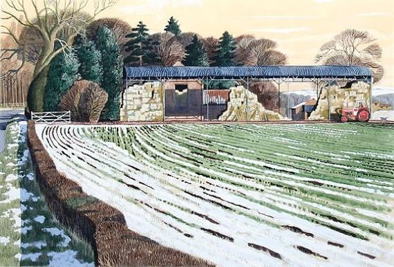 """""""Lingering Winter in Verge and Furrow"""" by Simon Palmer (watercolour and gouache)"""