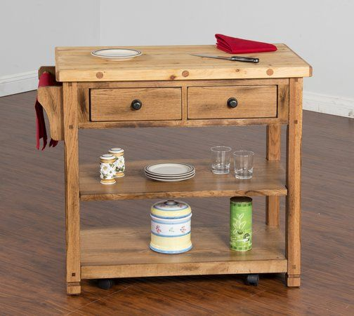 Crosley Roots Rack Industrial Kitchen Cart In Natural: Sedona Butcher Block Kitchen Island Cart $635.25