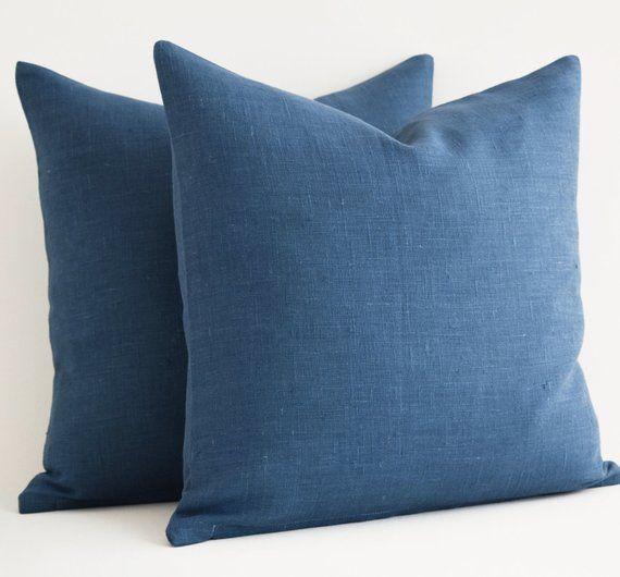 Custom Blue Linen Pillow 16 X 16 Blue Throw Pillows Navy