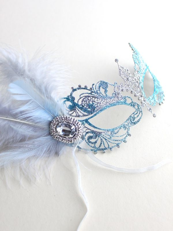 Unique Ice Blue & Silver Metal Filigree Pretty Masquerade Mask UK