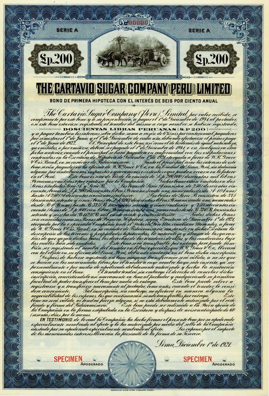 Cartavio Sugar Company Peru Limited / Specimen Bond.Peru, 1921, 200 Peruanas, 8% / AZPPE002
