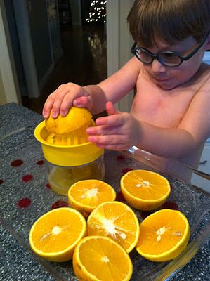 Making Fresh OJ!  Great for a heavy work pattern and some bilateral coordination!