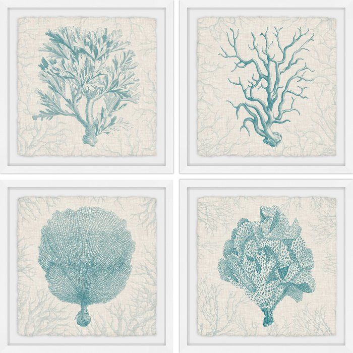 Coral Group Quadriptych 4 Piece Picture Frame Graphic Art Print Set On Paper In 2020 Coral Wall Art Framed Wall Art Sets Tropical Wall Art