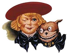 Buster Brown and his dog To be - shoes that would not wear out!! Jingle: Here's Buster Brown he lives in a shoe, here's his dog Tige he lives there too.