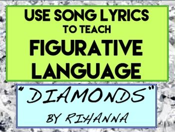 RIHANNA Diamonds Poetry Figurative Language Poetic Devices: Use popular Rihanna Song, Diamonds, to teach and practice figurative language, literary analysis and comparative writing. Students identify figurative language in the lyrics.  Students can read an exemplar literary analysis paragraph before writing their own. Use rihanna lyrics to teach poetry and figurative language #teachpoetryhighschool #songactivitiesforkids