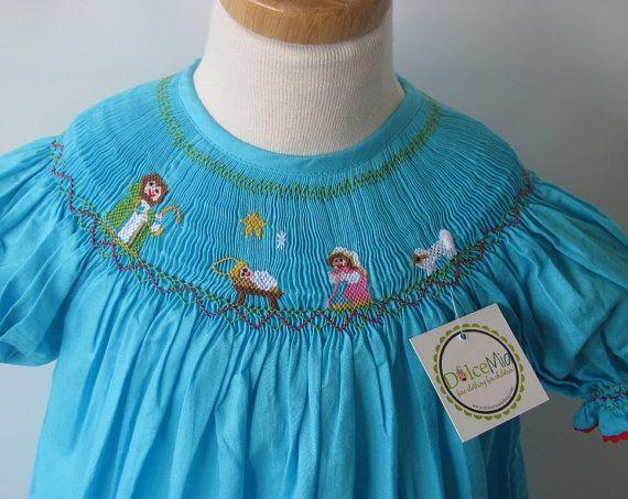 Smocked christmas dresses for girls, baby girl, toddler , nativity scene dress, baby girl smocked dress from szs 6m,2T,3T on Etsy, $49.00