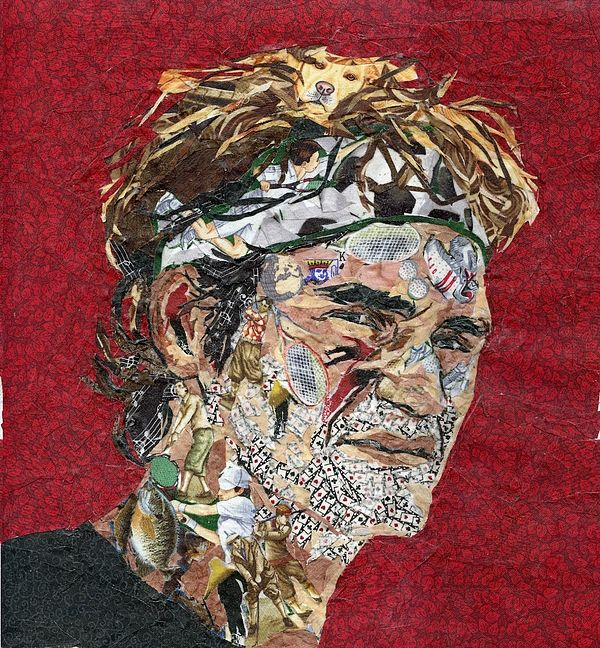 """Roger Federer -- The Complete Sportsman,"" Mihira Karra [Free-hand sketching and then ""painting"" with tiny pieces of fabric. Federer has many hobbies as a professional tennis player- soccer, skiing, golf, fishing, cards and music to name a few. He also has a favorite golden labrador.]"