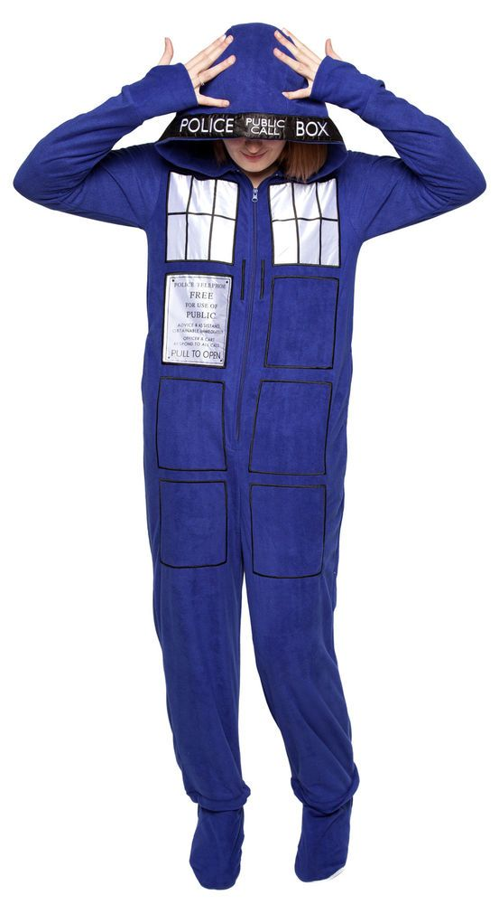 Doctor Who Police Box Tardis NWT Men's Women's Footed Pajamas - Blue #DoctorWho #PajamaSets