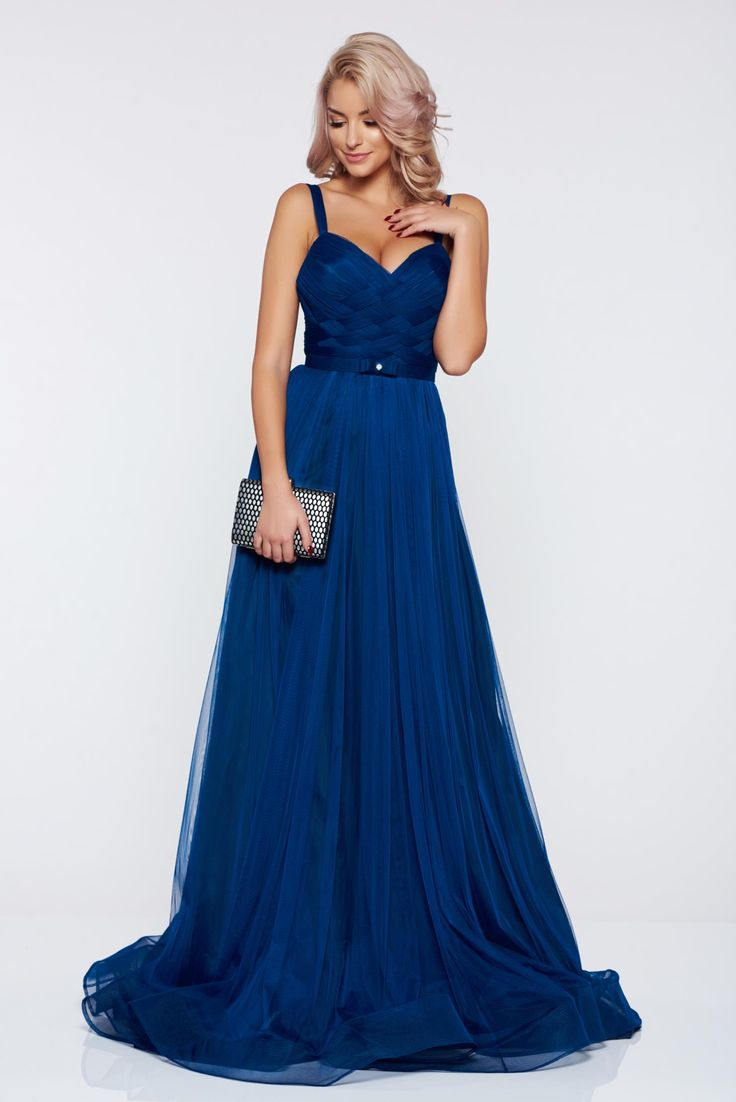 Ana Radu blue evening dresses dress with braces accessorized with tied waistband, embellished accessories, accessorized with tied waistband, back zipper fastening, inside lining, net