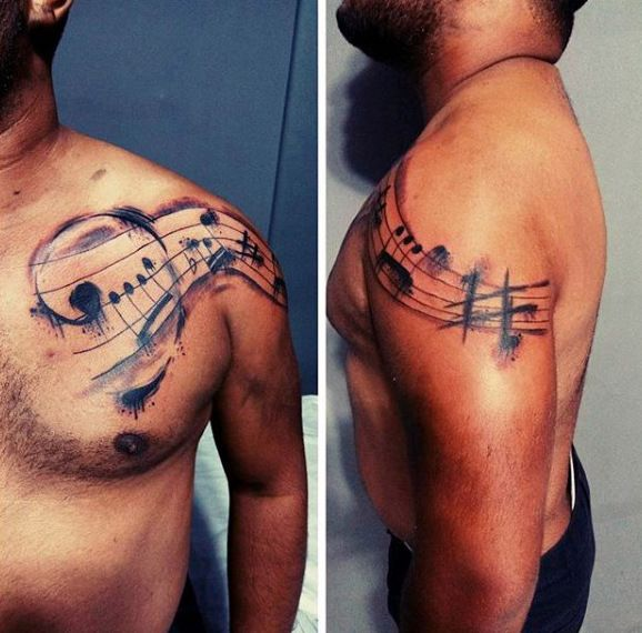 Watercolor Music Note Mens Shoulder And Chest Tattoo
