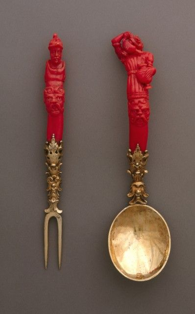 Fork and spoon, Nuremberg, Germany, 1600-1630. Coral handles, The fork tines and the spoon are silver-gilt .