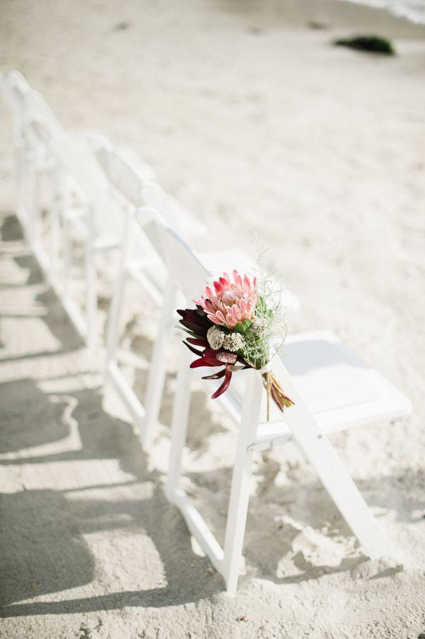 {protea ceremony chair bouquet} Gorgeous.