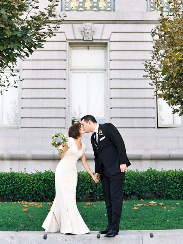 fit and flare wedding dress with rosette sleeves // san francisco city hall wedding