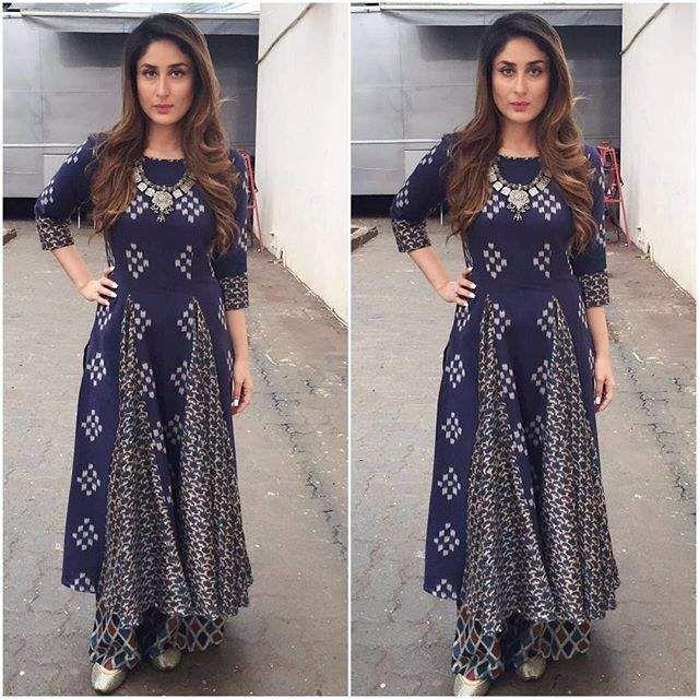 Kareena kapoor khan wearing indigo kurta - pallazo. visit Ethnico for bollywood's latest fashion updates- http://www.ethnicoapp.com/tag/bollywood