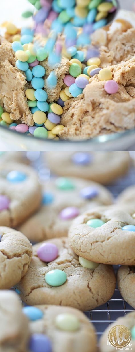 Peanut Butter M&M Cookies – spring Easter dessert recipe   – cookies