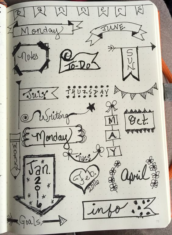 Some simple and quick ideas for banners. You don't have to be an artist to include these in your Bullet Journal!