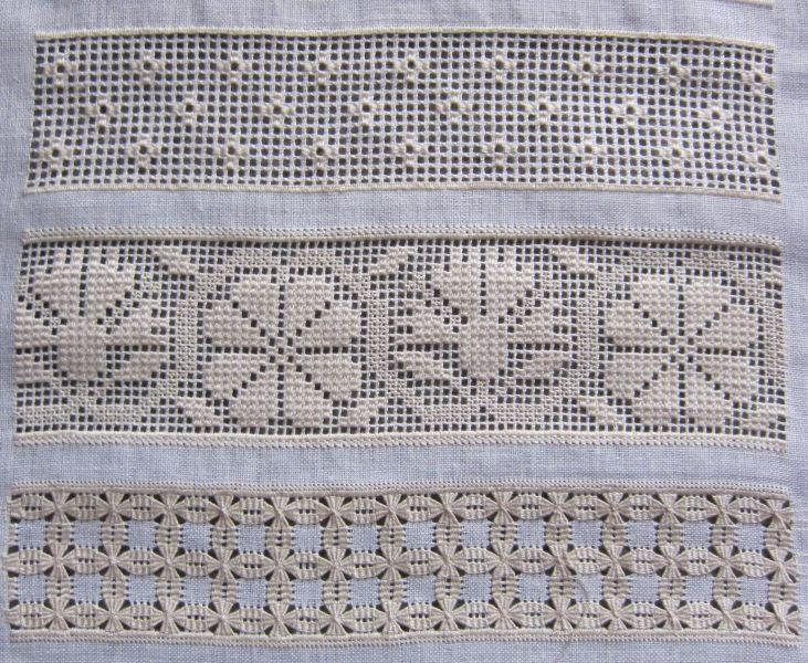 Drawn Thread work sampler bands 38, 39, 40 - stitchin fingers