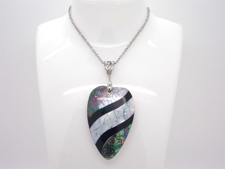Abalone Shell Pendant with 20 inch Stainless Steel Chain #Pendant