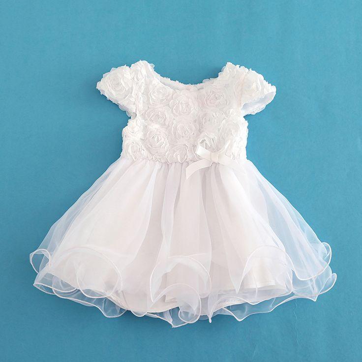 Bebek Kız Elbiseler Yay Beyaz Yaz Organze Vaftiz elbisesi Kızların Elbise Vestidos Infantis 5 Katmanlı Parti Elbise Kız Giyim