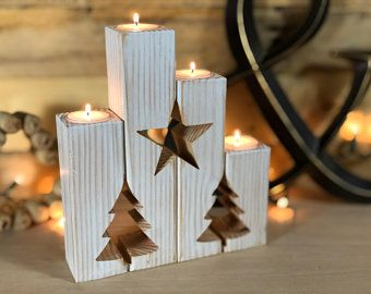 Christmas Tree Rustic Candle Holder – Advent Calendar Candle Holder – Coat Decor Farmhouse Antique Tea Light Holder Christmas Candles