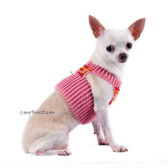 Peach Dog Harness Pink Chihuahua Collars Cotton Handmade Crochet