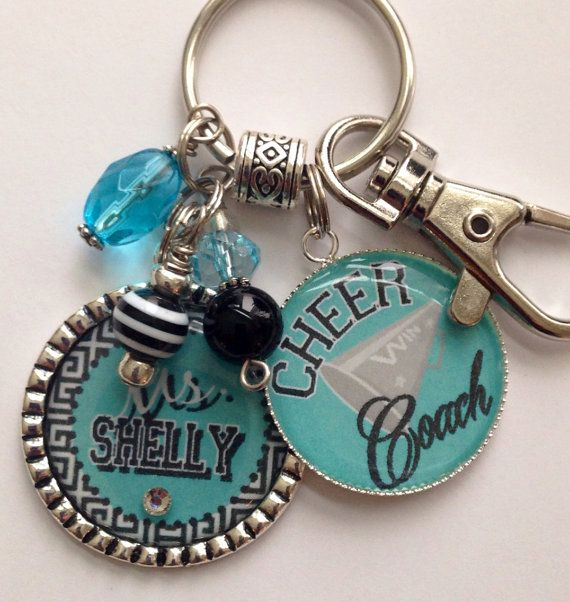 Cheer Coach Gift Personalized Keychain sport jersey Cheer Dance Gymnastics team school spirit colors custom cute bling present on Etsy, $23.99