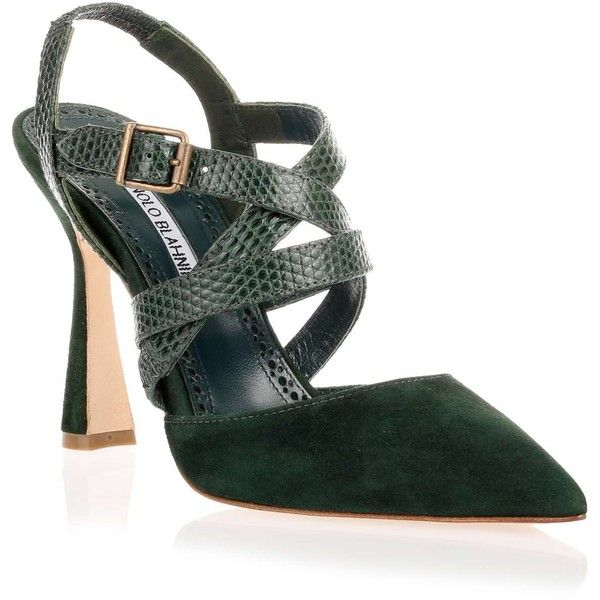Manolo Blahnik Pitina Dark Green Strappy Sandal (23.780 RUB) ❤ liked on Polyvore featuring shoes, sandals, high heeled footwear, strappy heeled sandals, strappy stilettos, high heel stilettos and strappy sandals