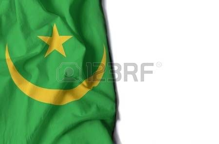 text: flag of mauritania, wrinkled flag with space for text