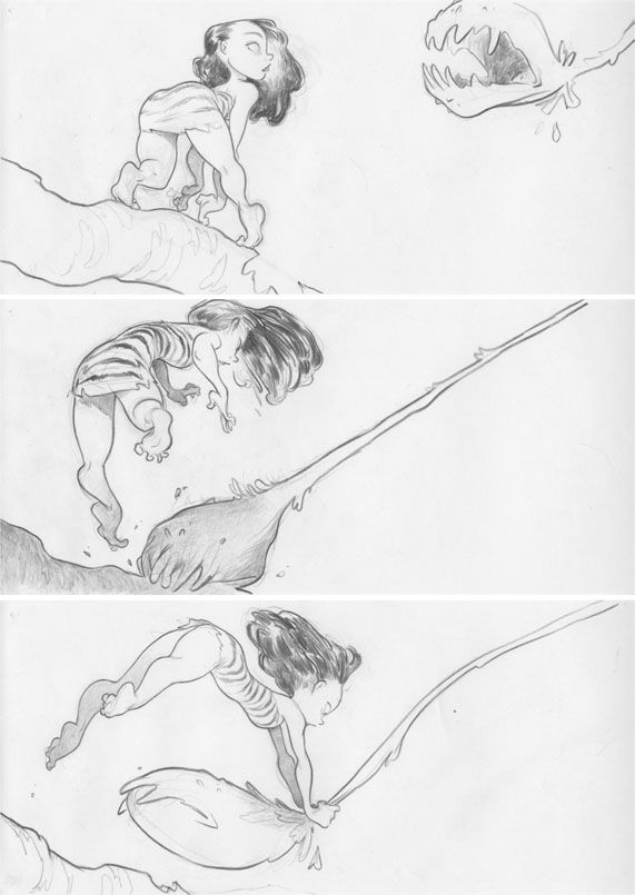 Chris Sanders (Co-Director of Lilo & Stitch, How To Train Your Dragon, The Croods) shares some unused storyboards from his latest film The Croods. http://www.chrissandersart.com/category/the-croods/